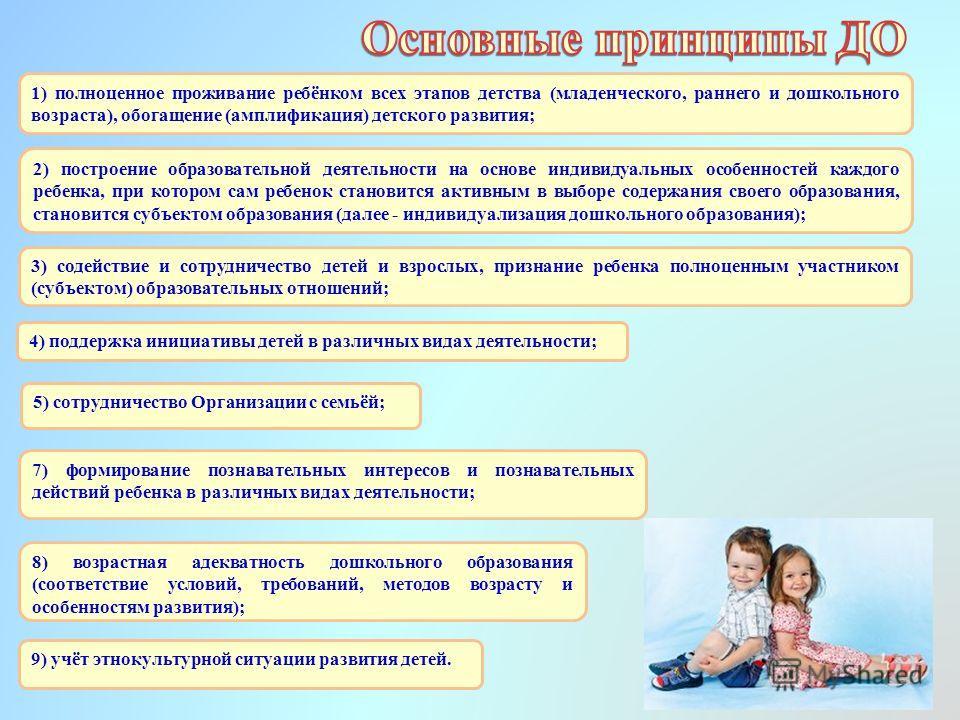 1) полноценное проживание ребёнком всех этапов детства (младенческого, раннего и дошкольного возраста), обогащение (амплификация) детского развития; 5) сотрудничество Организации с семьёй; 7) формирование познавательных интересов и познавательных дей