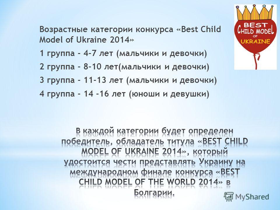 Возрастные категории конкурса «Best Child Model of Ukraine 2014» 1 группа - 4-7 лет (мальчики и девочки) 2 группа - 8-10 лет(мальчики и девочки) 3 группа - 11-13 лет (мальчики и девочки) 4 группа - 14 -16 лет (юноши и девушки)