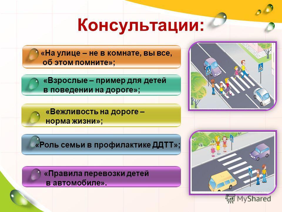 Консультации: «На улице – не в комнате, вы все, об этом помните»; «Вежливость на дороге – норма жизни»; «Роль семьи в профилактике ДДТТ»; «Взрослые – пример для детей в поведении на дороге»; «Правила перевозки детей в автомобиле».
