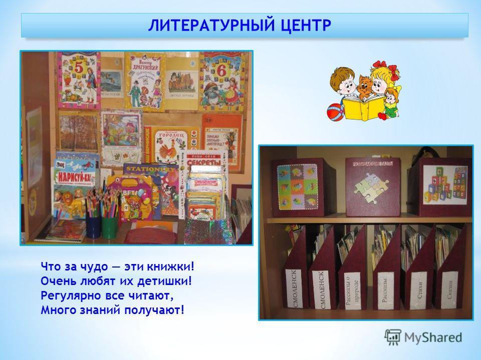 ЛИТЕРАТУРНЫЙ ЦЕНТР Что за чудо эти книжки! Очень любят их детишки! Регулярно все читают, Много знаний получают!