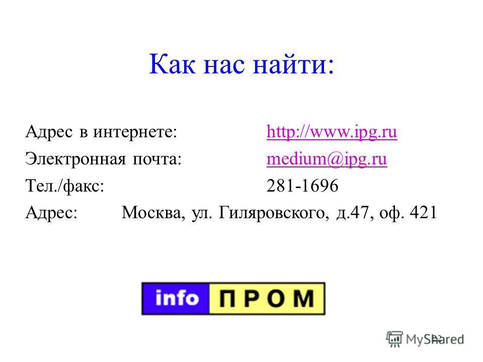 22 Как нас найти: Адрес в интернете:http://www.ipg.ruhttp://www.ipg.ru Электронная почта:medium@ipg.rumedium@ipg.ru Тел./факс:281-1696 Адрес:Москва, ул. Гиляровского, д.47, оф. 421