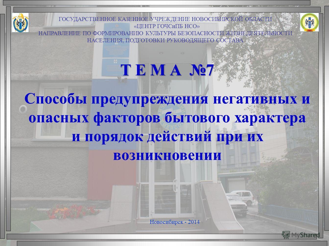 Т Е М А 7 Способы предупреждения негативных и опасных факторов бытового характера и порядок действий при их возникновении Новосибирск - 2014 ГОСУДАРСТВЕННОЕ КАЗЕННОЕ УЧРЕЖДЕНИЕ НОВОСИБИРСКОЙ ОБЛАСТИ «ЦЕНТР ГОЧСиПБ НСО» НАПРАВЛЕНИЕ ПО ФОРМИРОВАНИЮ КУЛ