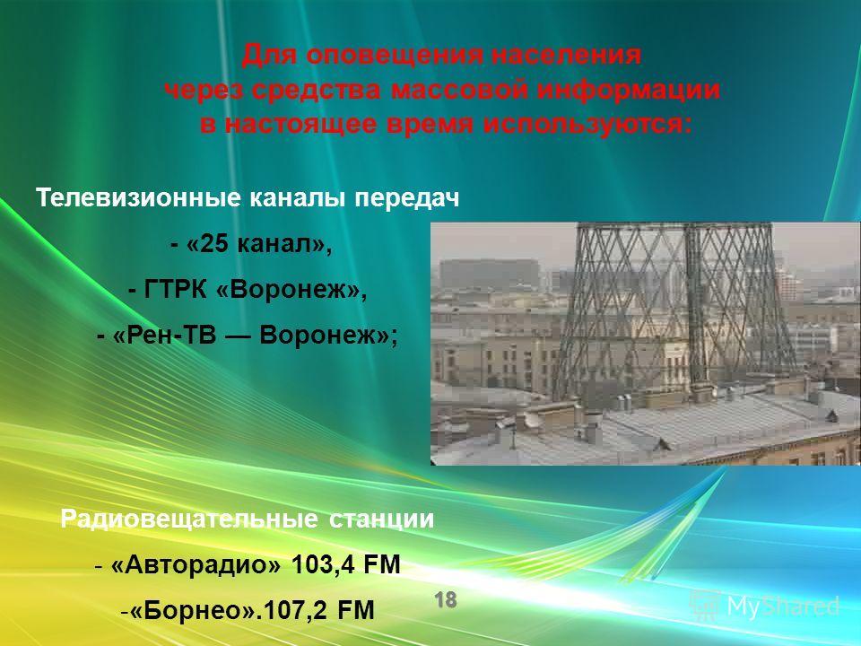 Всего в регионе оконечных средств оповещения – 295. Из них электросирен – 190, акустических установок – 105, из них в городском округе городе Воронеж – 125 (электросирен – 75, акустических установок – 50).