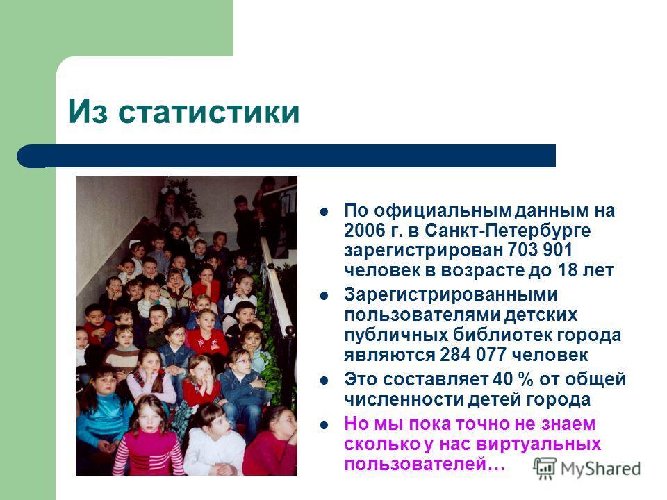 Из статистики По официальным данным на 2006 г. в Санкт-Петербурге зарегистрирован 703 901 человек в возрасте до 18 лет Зарегистрированными пользователями детских публичных библиотек города являются 284 077 человек Это составляет 40 % от общей численн