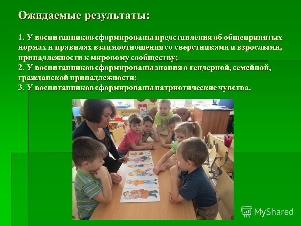 Ожидаемые результаты: 1. У воспитанников сформированы представления об общепринятых нормах и правилах взаимоотношения со сверстниками и взрослыми, принадлежности к мировому сообществу; 2. У воспитанников сформированы знания о гендерной, семейной, гра