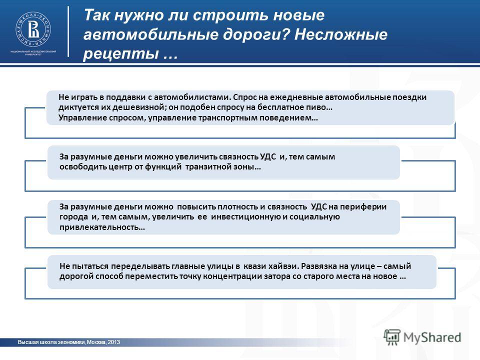 Высшая школа экономики, Москва, 2013 фото Так нужно ли строить новые автомобильные дороги? Несложные рецепты … Не играть в поддавки с автомобилистами. Спрос на ежедневные автомобильные поездки диктуется их дешевизной; он подобен спросу на бесплатное