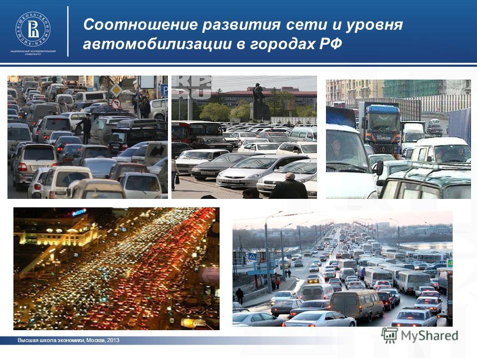 Высшая школа экономики, Москва, 2013 фото Соотношение развития сети и уровня автомобилизации в городах РФ