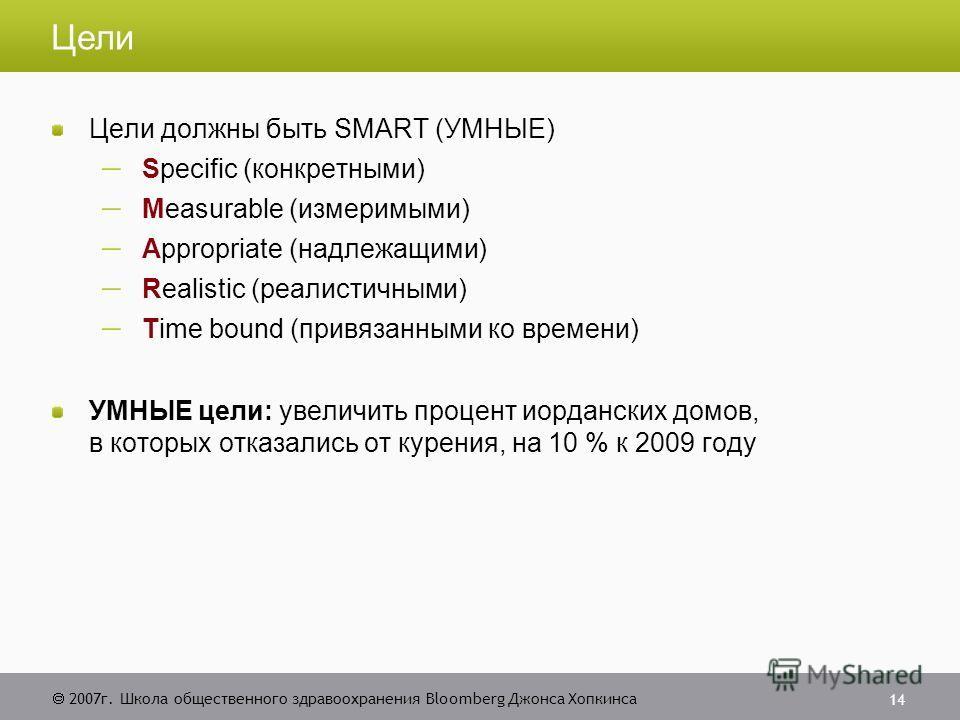 2007 г. Школа общественного здравоохранения Bloomberg Джонса Хопкинса 14 Цели Цели должны быть SMART (УМНЫЕ) Specific (конкретными) Measurable (измеримыми) Appropriate (надлежащими) Realistic (реалистичными) Time bound (привязанными ко времени) УМНЫЕ