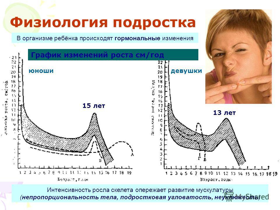 Физиология подростка 15 лет 13 лет Интенсивность росла скелета опережает развитие мускулатуры (непропорциональность тела, подростковая угловатость, неуклюжесть) В организме ребёнка происходят гормональные изменения График изменений роста см/год юноши