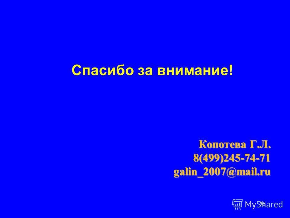 56 Спасибо за внимание! Копотева Г.Л. Копотева Г.Л. 8(499)245-74-71 8(499)245-74-71 galin_2007@mail.ru galin_2007@mail.ru