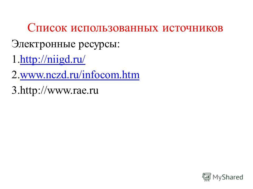 Список использованных источников Электронные ресурсы: 1.http://niigd.ru/http://niigd.ru/ 2.www.nczd.ru/infocom.htmwww.nczd.ru/infocom.htm 3.http://www.rae.ru