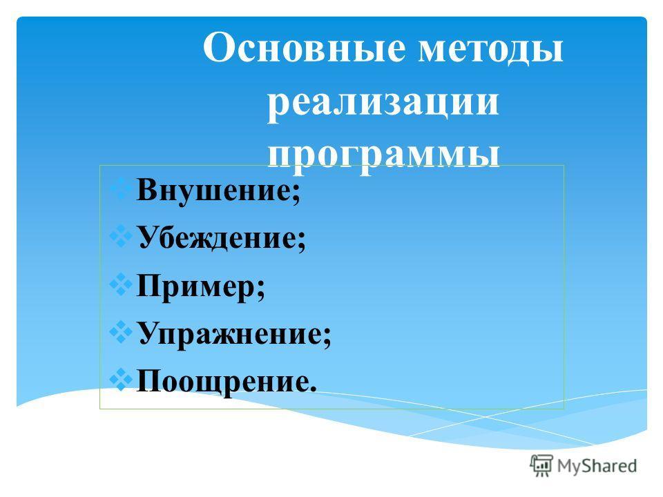 Основные методы реализации программы Внушение; Убеждение; Пример; Упражнение; Поощрение.
