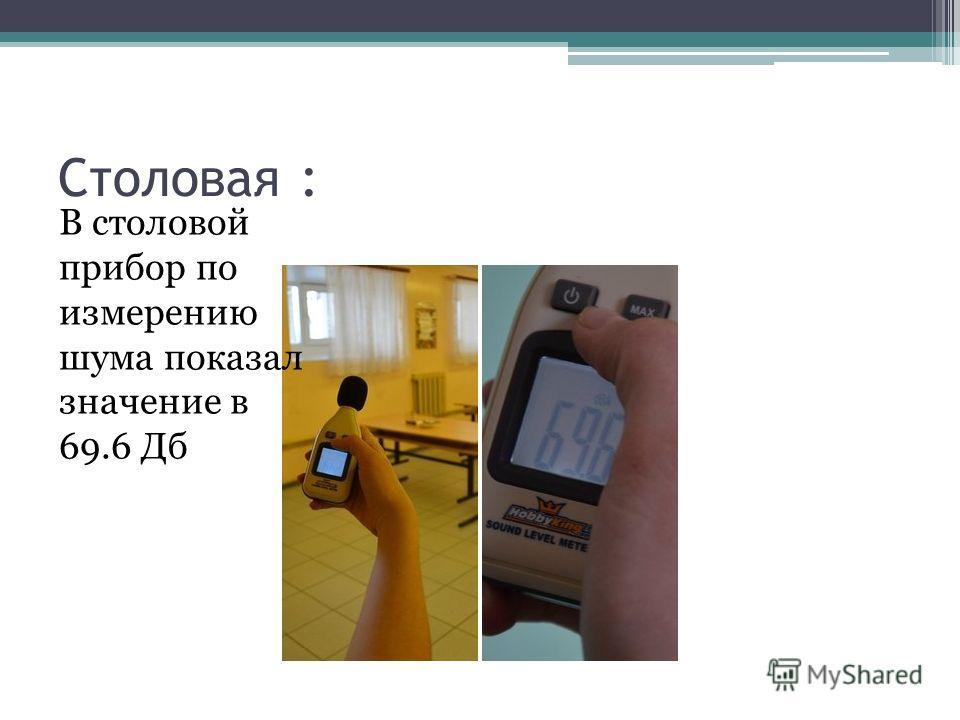 Столовая : В столовой прибор по измерению шума показал значение в 69.6 Дб