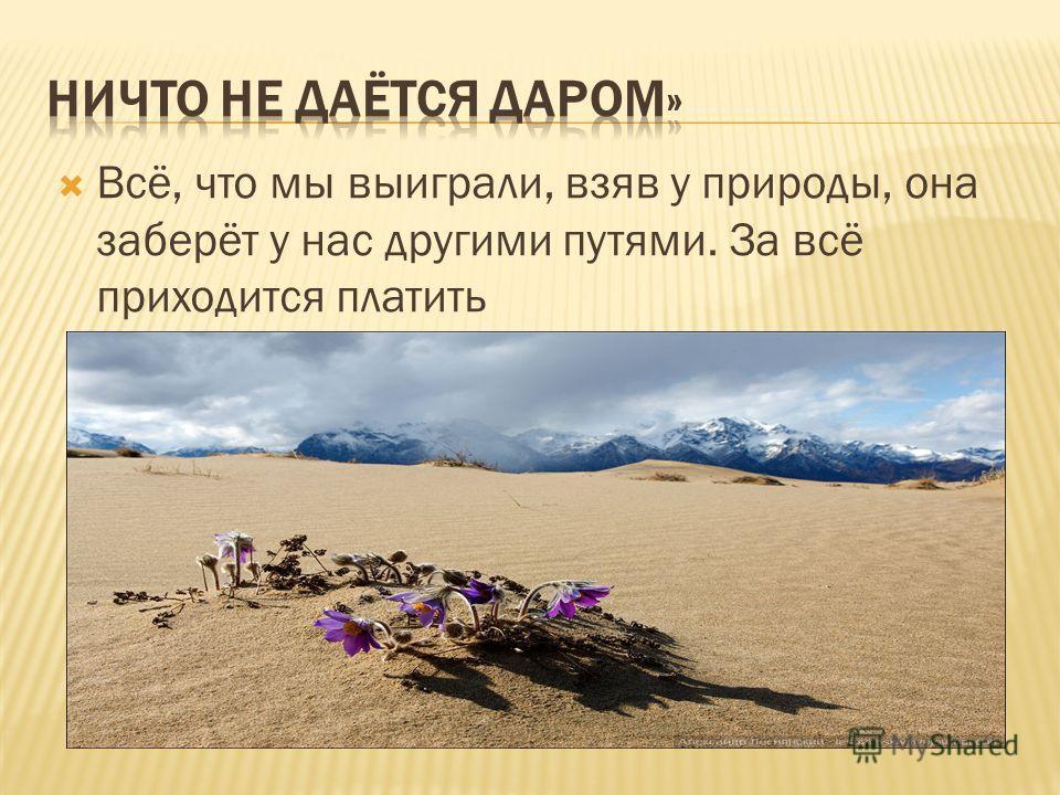Всё, что мы выиграли, взяв у природы, она заберёт у нас другими путями. За всё приходится платить