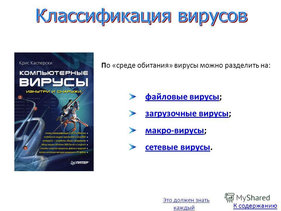 файловые вирусы;файловые вирусы загрузочные вирусы;загрузочные вирусы макро-вирусы;макро-вирусы сетевые вирусы.сетевые вирусы По «среде обитания» вирусы можно разделить на: Это должен знать каждый К содержанию