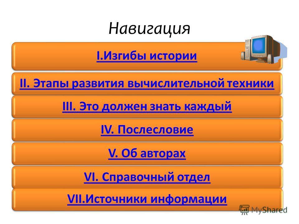 Навигация I.Изгибы истории II. Этапы развития вычислительной техникиIII. Это должен знать каждыйIV. ПослесловиеV. Об авторахVI. Справочный отделVII.Источники информации