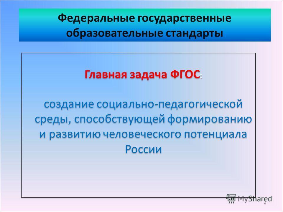 Главная задача ФГОС : создание социально-педагогической среды, способствующей формированию и развитию человеческого потенциала России Главная задача ФГОС : создание социально-педагогической среды, способствующей формированию и развитию человеческого