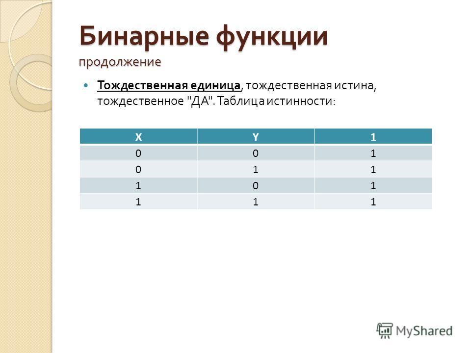Бинарные функции продолжение Тождественная единица, тождественная истина, тождественное  ДА . Таблица истинности : XY1 001 011 101 111