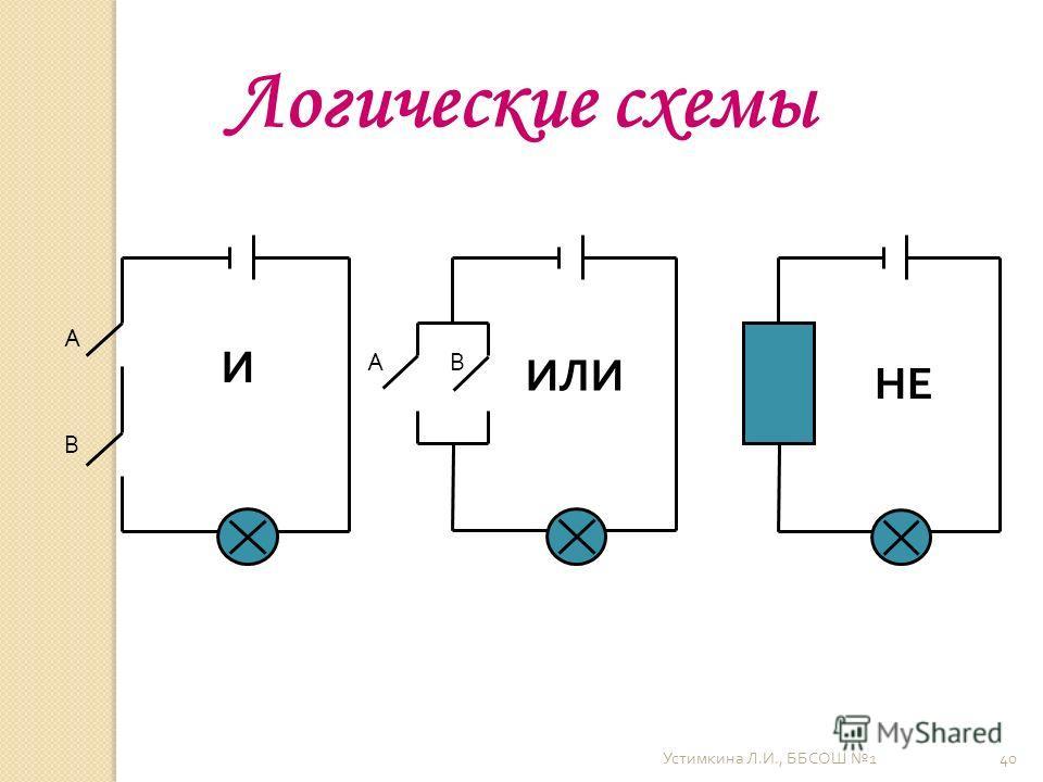 Устимкина Л. И., ББСОШ 1 40 А В АВ И ИЛИ НЕ Логические схемы