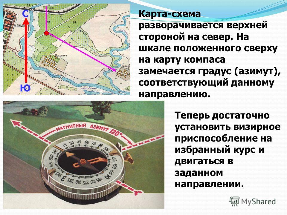 Карта-схема разворачивается верхней стороной на север. На шкале положенного сверху на карту компаса замечается градус (азимут), соответствующий данному направлению. С Ю Теперь достаточно установить визирное приспособление на избранный курс и двигатьс