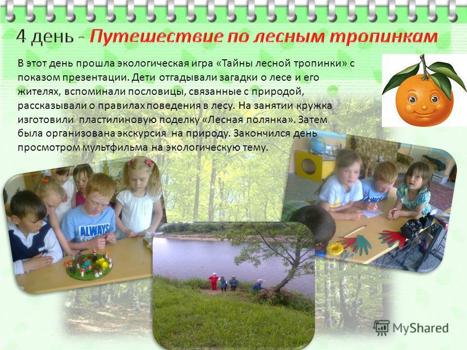 В этот день прошла экологическая игра «Тайны лесной тропинки» с показом презентации. Дети отгадывали загадки о лесе и его жителях, вспоминали пословицы, связанные с природой, рассказывали о правилах поведения в лесу. На занятии кружка изготовили плас