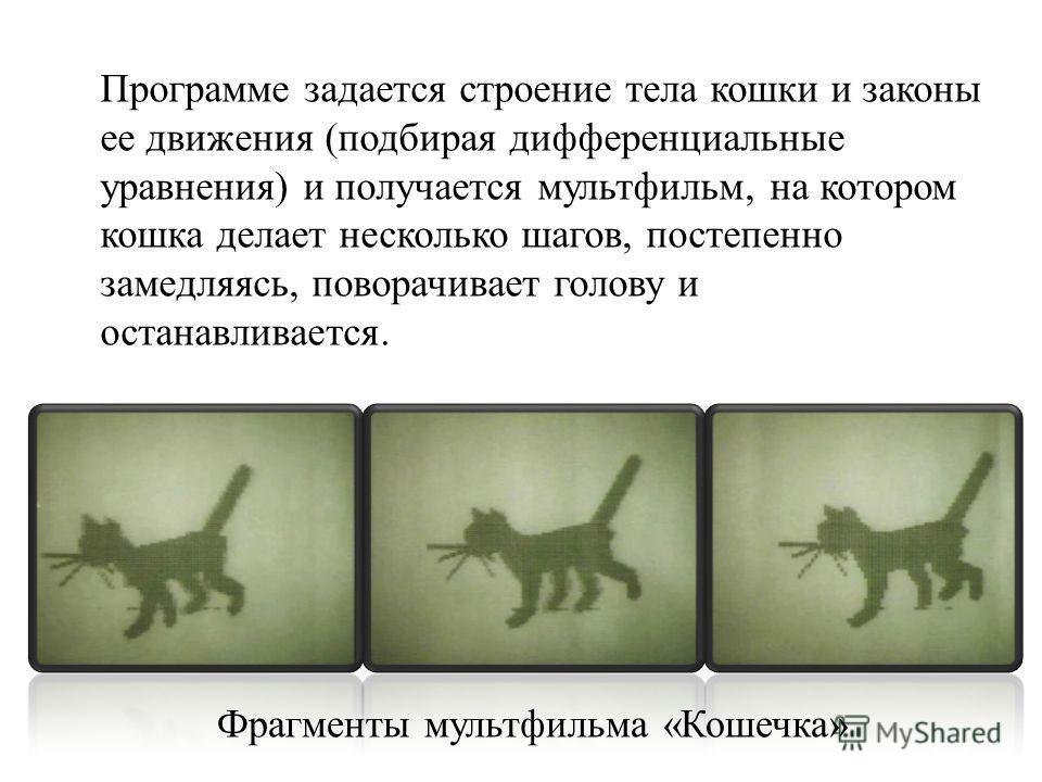 Фрагменты мультфильма « Кошечка » Программе задается строение тела кошки и законы ее движения ( подбирая дифференциальные уравнения ) и получается мультфильм, на котором кошка делает несколько шагов, постепенно замедляясь, поворачивает голову и остан