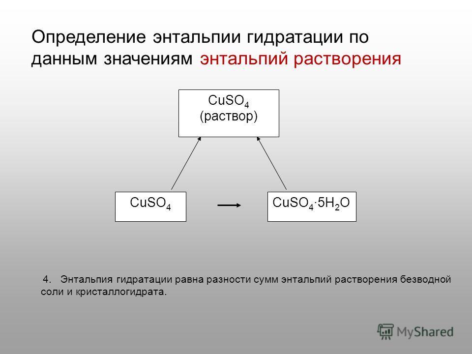 CuSO 4 (раствор) CuSO 45H 2 OCuSO 4 4. Энтальпия гидратации равна разности сумм энтальпий растворения безводной соли и кристаллогидрата. Определение энтальпии гидратации по данным значениям энтальпий растворения