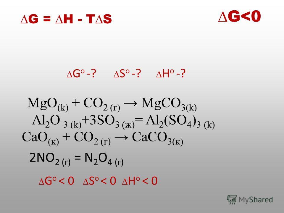 MgO (k) + CO 2 (г) MgСO 3(k) Al 2 O 3 (k) +3SO 3 (ж) = Al 2 (SO 4 ) 3 (k) СаO (к) + CO 2 (г) СаСO 3(к) G o -? S o -? H o -? G o < 0 S o < 0 H o < 0 G = Н - TS G