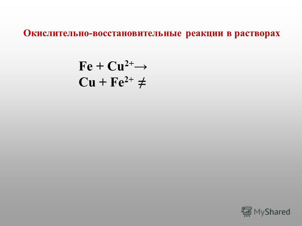 Fe + Cu 2+ Cu + Fe 2+ Окислительно-восстановительные реакции в растворах