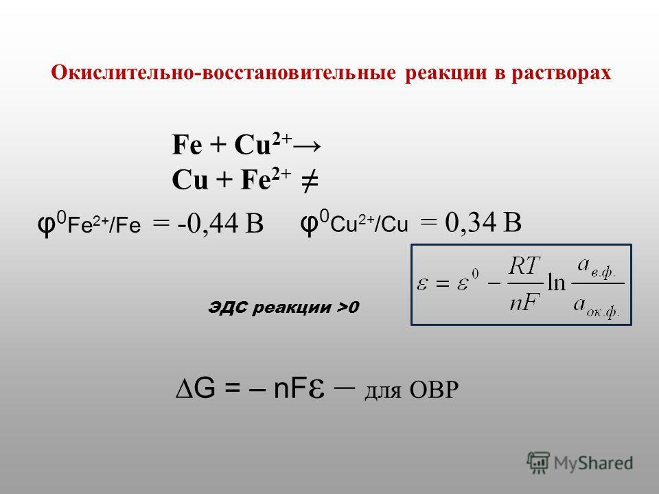 G = – nF ε – для ОВР Fe + Cu 2+ Cu + Fe 2+ φ 0 Cu 2+ /Cu = 0,34 B φ 0 Fe 2+ /Fe = -0,44 B ЭДС реакции >0 Окислительно-восстановительные реакции в растворах