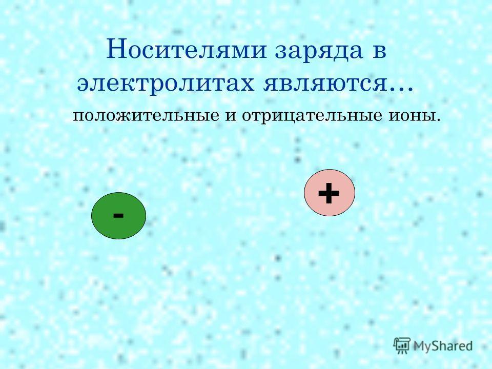 Носителями заряда в электролитах являются… положительные и отрицательные ионы. - +