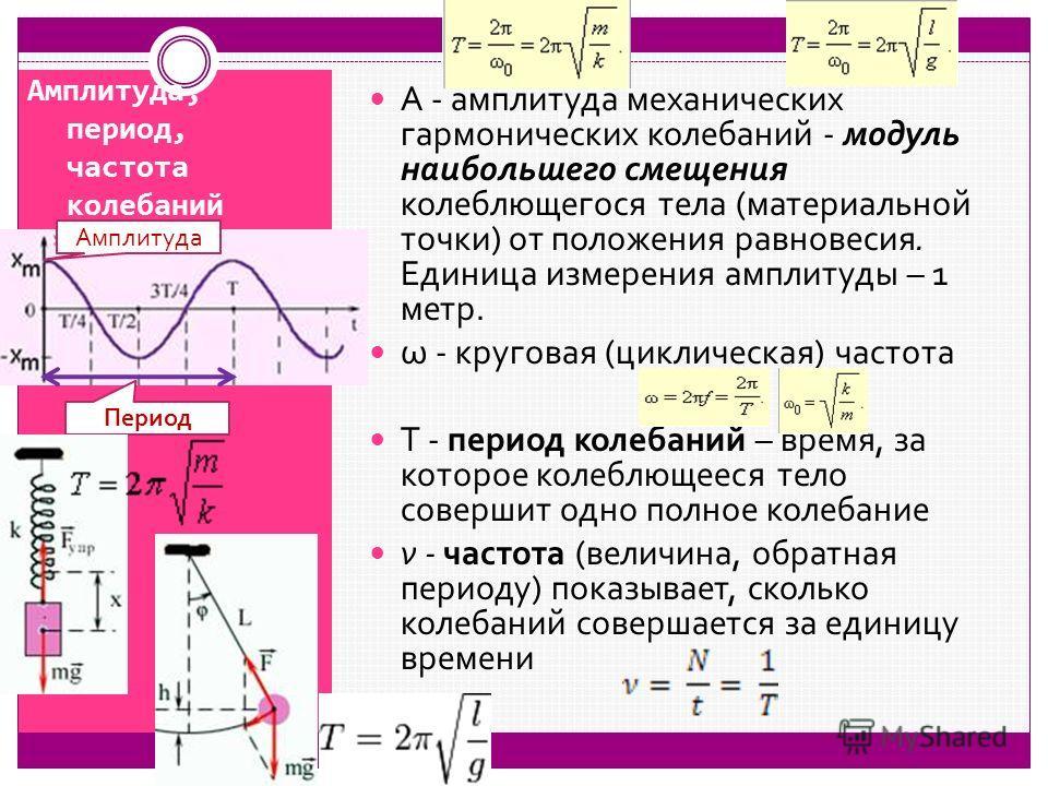Амплитуда, период, частота колебаний А - амплитуда механических гармонических колебаний - модуль наибольшего смещения колеблющегося тела (материальной точки) от положения равновесия. Единица измерения амплитуды – 1 метр. ω - круговая (циклическая) ча