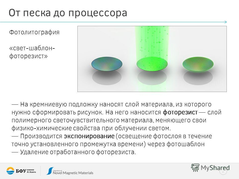2 От песка до процессора Фотолитография «свет-шаблон- фоторезист» На кремниевую подложку наносят слой материала, из которого нужно сформировать рисунок. На него наносится фоторезист слой полимерного светочувствительного материала, меняющего свои физи