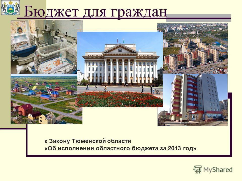 Бюджет для граждан к Закону Тюменской области «Об исполнении областного бюджета за 2013 год»