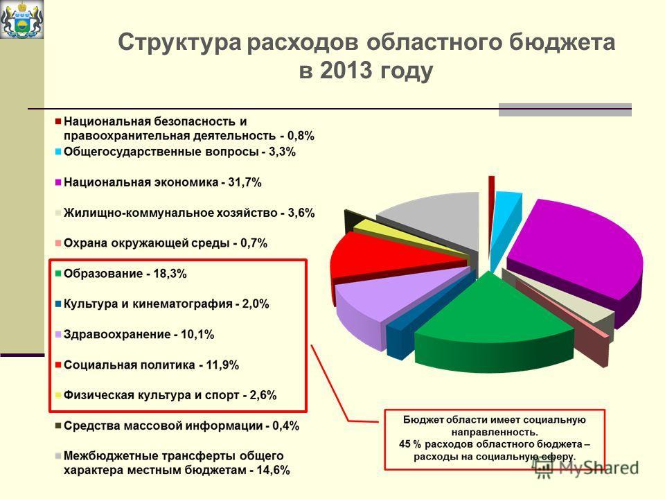 Структура расходов областного бюджета в 2013 году