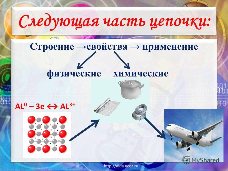 Следующая часть цепочки: Строение свойства применение физические химические 28.10.201413 AL 0 – 3e AL 3 +