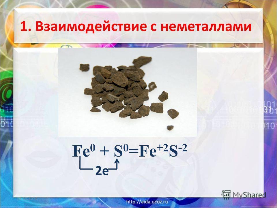 1. Взаимодействие с неметаллами 28.10.2014 2 е Fe 0 + S 0 =Fe +2 S -2