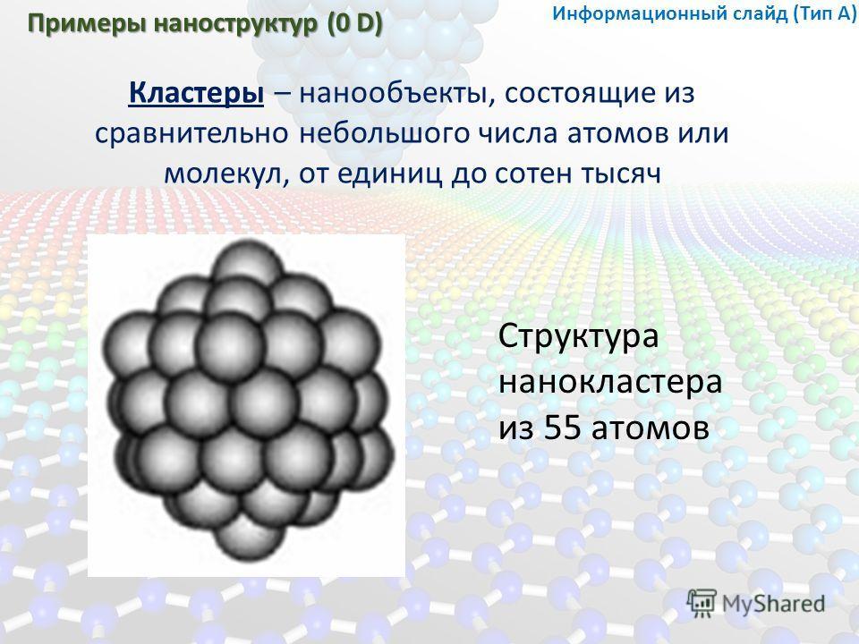 Примеры наноструктур (0 D) Кластеры – нанообъекты, состоящие из сравнительно небольшого числа атомов или молекул, от единиц до сотен тысяч Структура нано кластера из 55 атомов Информационный слайд (Тип А)