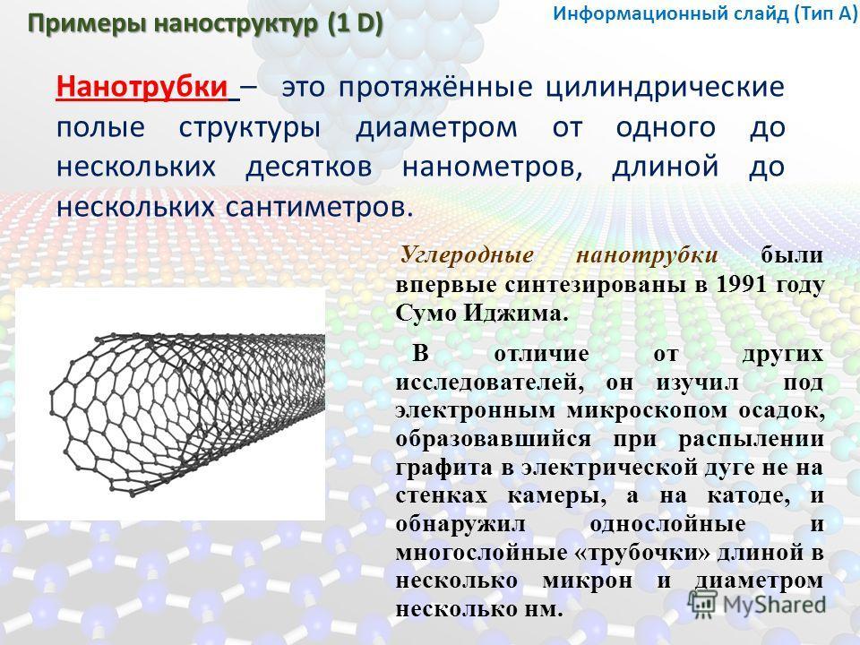 Примеры наноструктур (1 D) Нанотрубки – это протяжённые цилиндрические полые структуры диаметром от одного до нескольких десятков нанометров, длиной до нескольких сантиметров. Углеродные нанотрубки были впервые синтезированы в 1991 году Сумо Иджима.