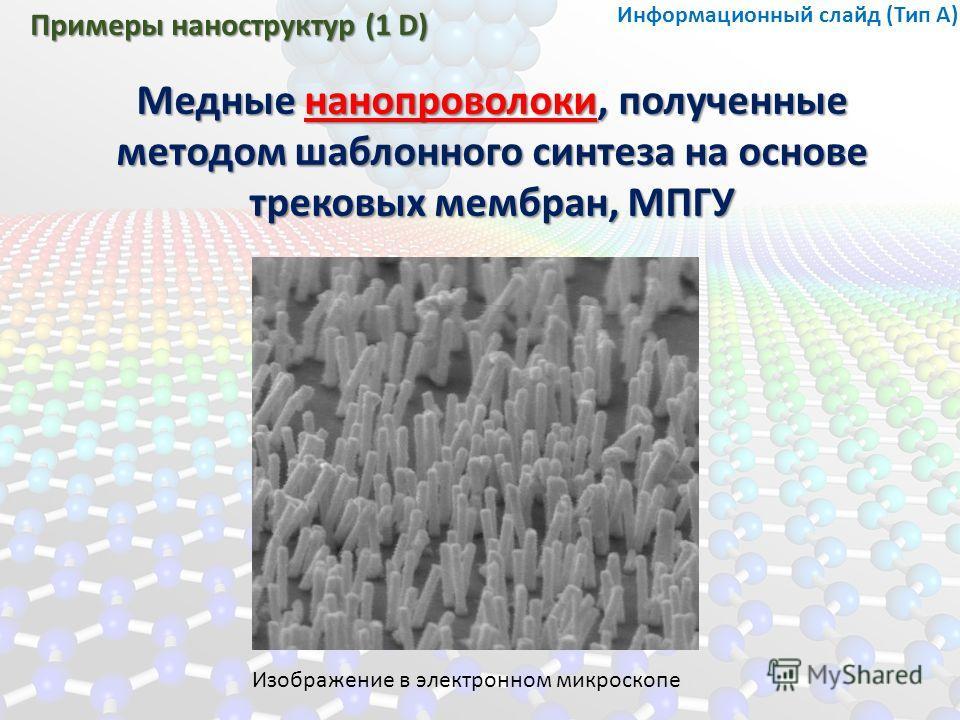 Примеры наноструктур (1 D) Медные нанопроволоки, полученные методом шаблонного синтеза на основе трековых мембран, МПГУ Изображение в электронном микроскопе Информационный слайд (Тип А)