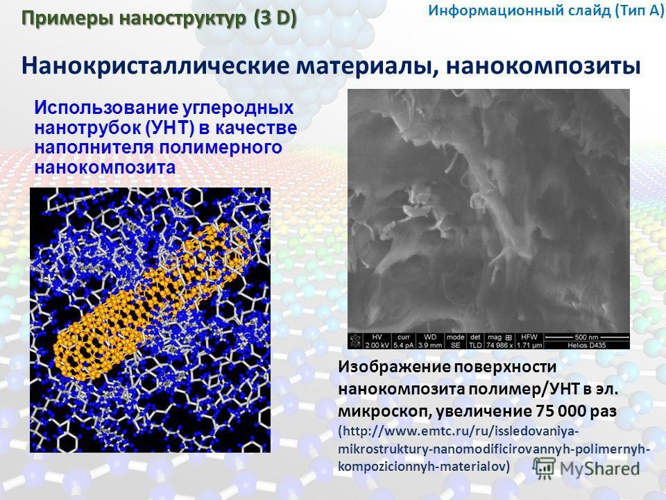 Примеры наноструктур (3 D) Нанокристаллические материалы, нанокомпозиты Информационный слайд (Тип А) Использование углеродных нанотрубок (УНТ) в качестве наполнителя полимерного нанокомпозита Изображение поверхности нанокомпозита полимер/УНТ в эл. ми