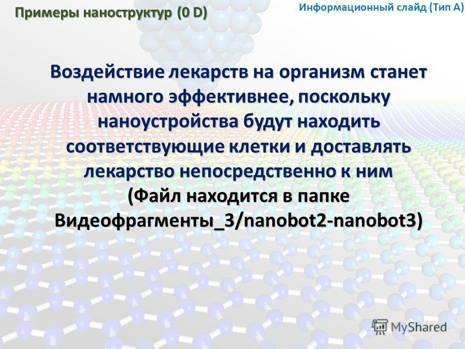 Примеры наноструктур (0 D) Воздействие лекарств на организм станет намного эффективнее, поскольку наноустройства будут находить соответствующие клетки и доставлять лекарство непосредственно к ним (Файл находится в папке Видеофрагменты_3/nanobot2-nano
