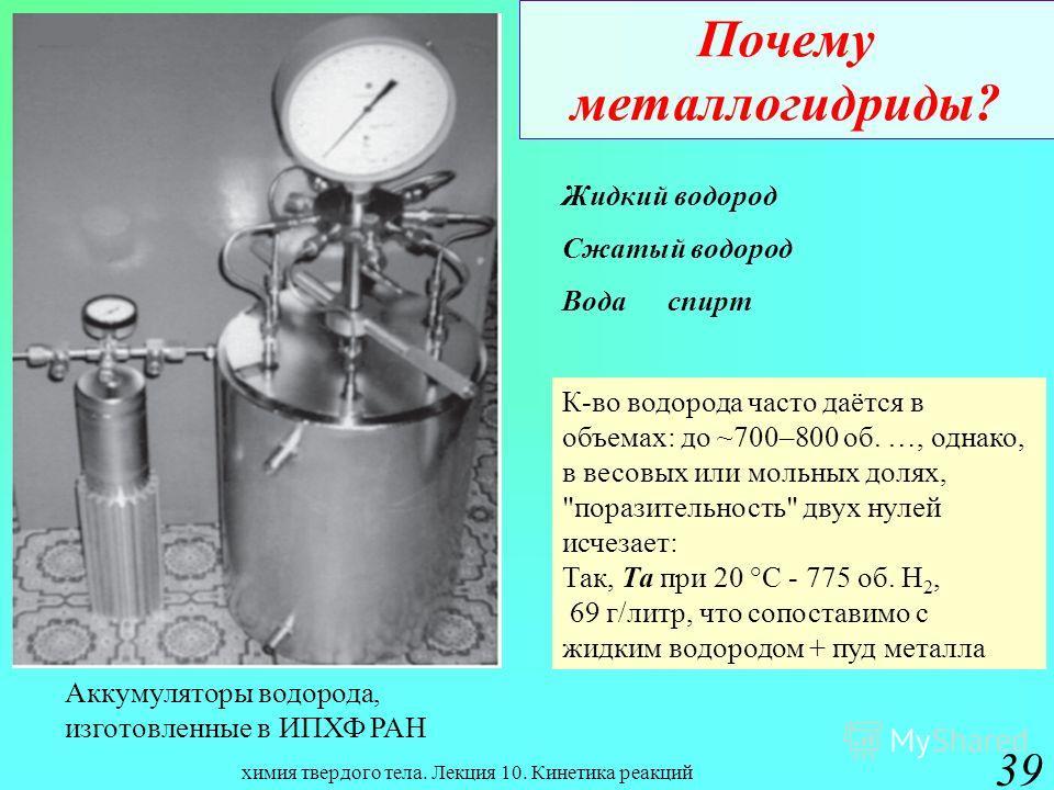 химия твердого тела. Лекция 10. Кинетика реакций 39 Почему металлогидриды? Жидкий водород Сжатый водород Водаспирт К-во водорода часто даётся в объемах: до ~700–800 об. …, однако, в весовых или мольных долях,