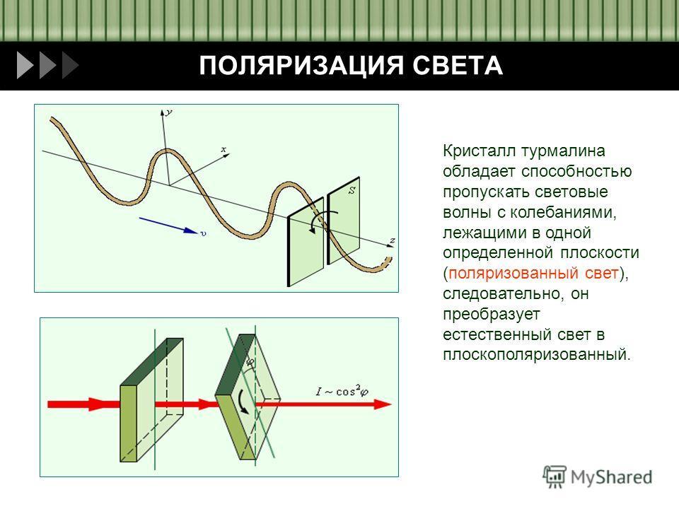 Пащенко И.В. ПОЛЯРИЗАЦИЯ СВЕТА Кристалл турмалина обладает способностью пропускать световые волны с колебаниями, лежащими в одной определенной плоскости (поляризованный свет), следовательно, он преобразует естественный свет в плоскополяризованный.