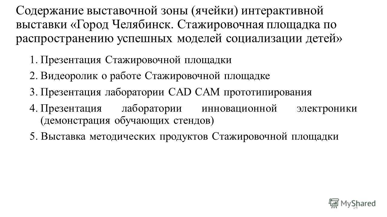 Содержание выставочной зоны (ячейки) интерактивной выставки «Город Челябинск. Стажировочная площадка по распространению успешных моделей социализации детей» 1. Презентация Стажировочной площадки 2. Видеоролик о работе Стажировочной площадке 3. Презен