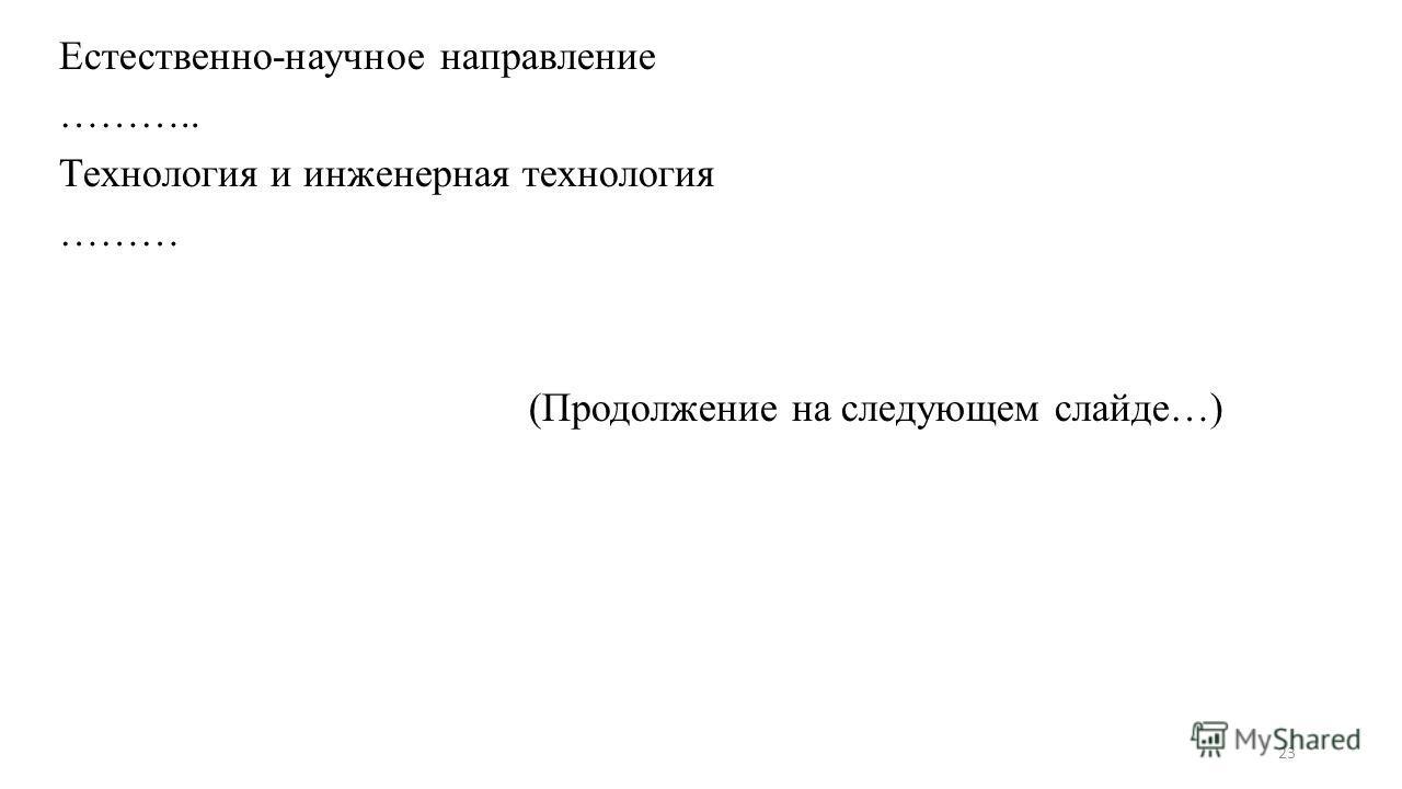 Естественно-научное направление ……….. Технология и инженерная технология ……… (Продолжение на следующем слайде…) 23