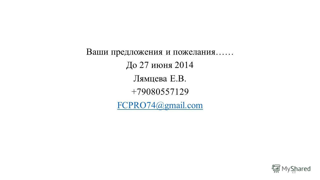 Ваши предложения и пожелания…… До 27 июня 2014 Лямцева Е.В. +79080557129 FCPRO74@gmail.com 29