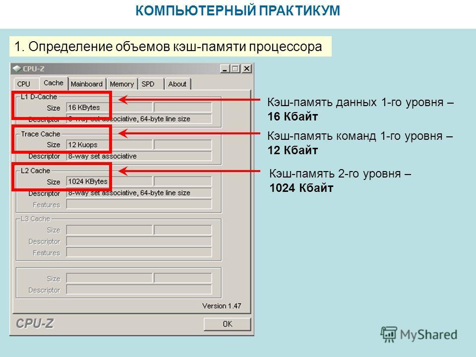 КОМПЬЮТЕРНЫЙ ПРАКТИКУМ 1. Определение объемов кэш-памяти процессора Кэш-память данных 1-го уровня – 16 Кбайт Кэш-память команд 1-го уровня – 12 Кбайт Кэш-память 2-го уровня – 1024 Кбайт