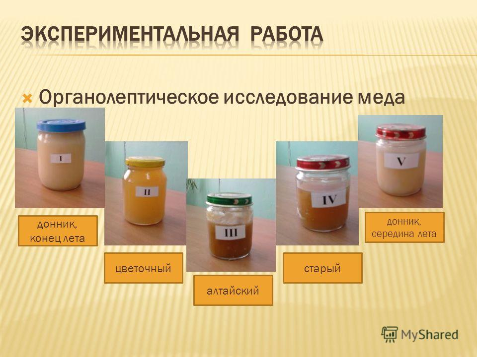 Органолептическое исследование меда донник, конец лета цветочный алтайский донник, середина лета старый