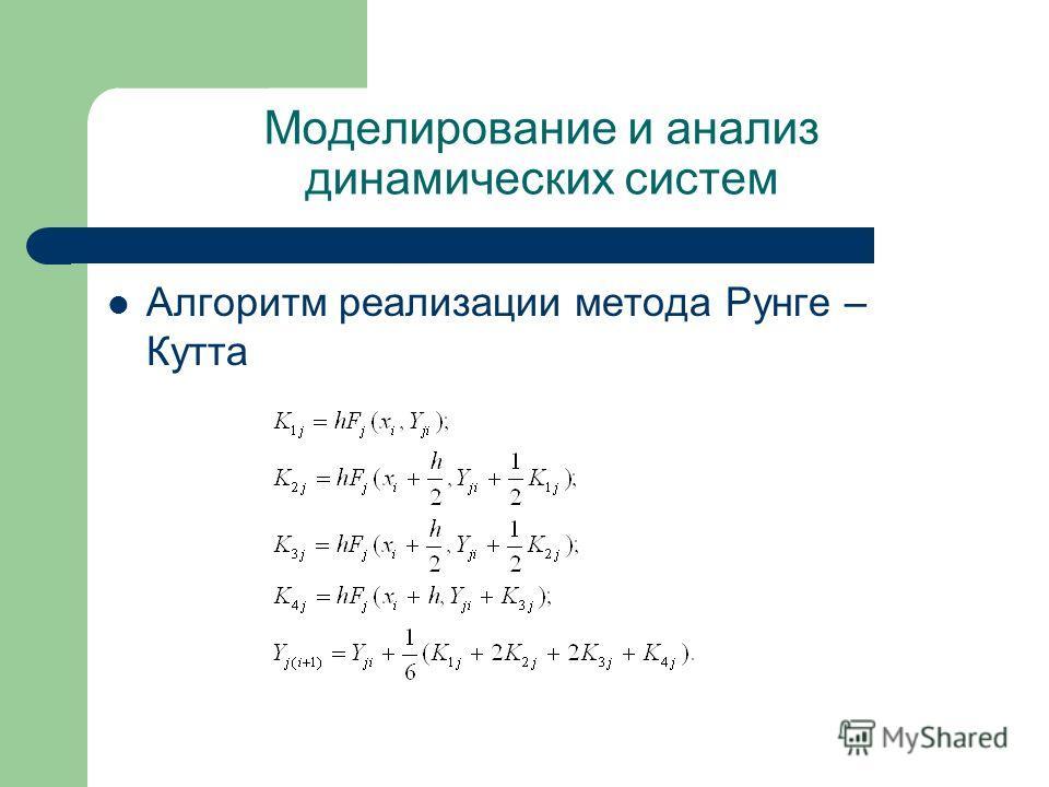 Моделирование и анализ динамических систем Алгоритм реализации метода Рунге – Кутта